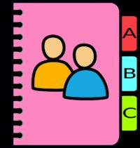 notebook, pink, alphabet